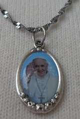 Pope Francis Full Color Pedant Italian Silver on Twisted Silver Chain Lightweight in Kingwood, Texas