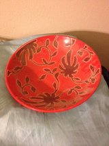Large Red Home Decor Bowl Floral Flower Centerpiece Maroon Table Dining Room Kitchen in Kingwood, Texas