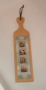 Wooden paddle bread cheese cutting board country floral with glass insert in Plainfield, Illinois