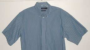 Consensus performance s/s blue stripe button-front shirt w.pocket mens large l in Morris, Illinois