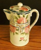 Hand Painted Nippon Chocolate Pot with Lid Pink Green Flowers in Naperville, Illinois