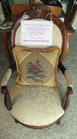 Antique Late 1800's Slipper Chair, Table & Pillow in Cherry Point, North Carolina