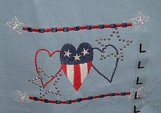 Brand New with Tags  M&C Energy sportswear stitched stud americana hearts tee top large t-shirt in Chicago, Illinois