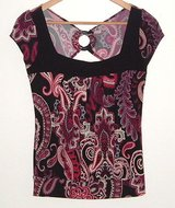 Heart Soul peek-a-boo open back black fuchsia paisley blouse womens small top s in Morris, Illinois