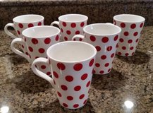 Crate and Barrel Mugs - White with Red Polka Dots -Set of 6 -New in Glendale Heights, Illinois