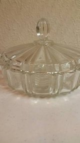 A Vintage Old Cafe heavy crystal candy dish with lid in Camp Pendleton, California