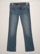 American Eagle distressed slim boot cut denim jeans womens 00 short 26 x 29 00s in Yorkville, Illinois