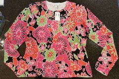 Sweater -L- Pretty button down, floral, multi color silk NEW WITH TAGS in Orland Park, Illinois