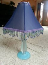 Lamp - blue base with decorative blue beaded shade in Orland Park, Illinois