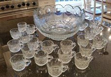 Punch Bowl and 24 Cups, Circle Dot Pressed Glass Pattern in Orland Park, Illinois