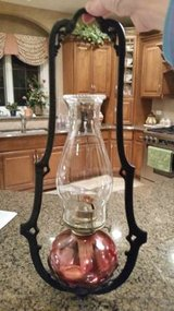 Oil Lamps, Hanger and Wall Hook - Red/Cranberry Glass in Aurora, Illinois