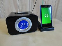 ilive blue digital 2 band alarm clock with 3.5mm jack ,iphone/ipod docking in Bolingbrook, Illinois