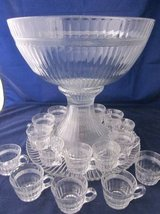 HEISEY GLASS Banded Flute Clear Punch Bowl Underplate 16 Cups Depressi in Bolingbrook, Illinois