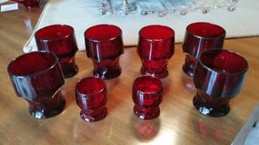 Red Ruby Tumblers / Glasses - Georgian Pattern - 6 large, 2 small in Aurora, Illinois