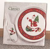 New SANTA Stoneware Cake Plate & Server Pie Signature Housewares Holiday Classic in Plainfield, Illinois