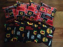 chicago blackhawks 8 corn filled cornhole bean bags 4 red/ 4 black in Aurora, Illinois