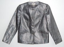Laura Ashley Silver Metallic Patterned Jacket PS Petite Small Button Front in Morris, Illinois