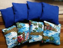 tropical 8 corn filled cornhole bean bags 4 tropical/ 4 royal in Naperville, Illinois