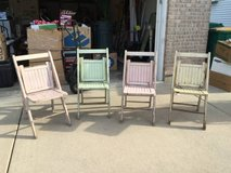 4 Antique Wooden Folding Chairs...Beautiful! in Oswego, Illinois