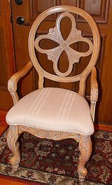 Light Wood Carved Side Chair, Medalion Back, Ivory Upholstery in Naperville, Illinois