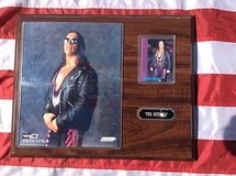 15x12  wall plaque bret hart ,the hitman 8 x 10 photo & 3 x 4 card  wcw wwe wwf in 29 Palms, California