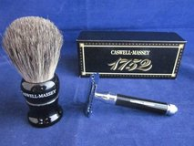 CASWELL MASSEY Shaving Brush & Razor Set DE RAZOR BLACK ~ NEW in BOX in Aurora, Illinois