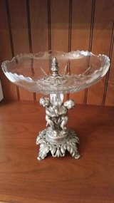 Epergne - Antique  Serving Piece - Glass and Metal - Cherubs in Chicago, Illinois