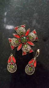 Emmons Maltese Cross Brooch and Earring Set - in Glendale Heights, Illinois