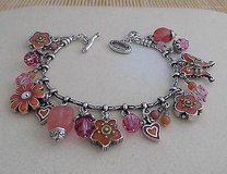 Brighton Flower Bracelet- Pink Orange Silver Crystals in Glendale Heights, Illinois