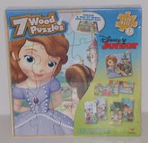 ONLY $2 NEW Disney 7 Wooden  Puzzles Sofia Jake & Neverland Pirates Doc McStuffins  In Wood Stor... in Plainfield, Illinois