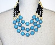 """NRT Turquoise Black Blue Silver Tone Statement Strand Chain Bead Necklace 20"""" in Kingwood, Texas"""