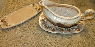 "Gravy Boat and plates  $5  ""The Back Forty"", Adel in Moody AFB, Georgia"