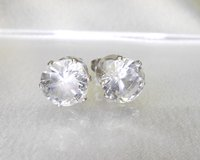 surgical stainless steel, round cubic zirconia stud earrings, 10mm in Camp Lejeune, North Carolina