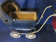 Wicker Doll Baby Carriage Buggy Stroller 2 port holes ANTIQUE in Naperville, Illinois