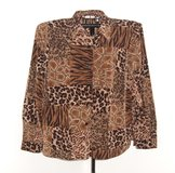 Susan Graver Brown Beige Leopard Button Down Blouse Womens XL Shirt Top in Morris, Illinois