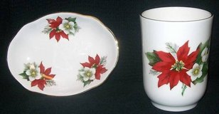 Newhall Staffordshire Holiday Christmas Bone China Soap Dish & Cup in Orland Park, Illinois