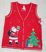 Ugly Christmas Sweater Vest~NWT ~ Red w/Gold Trim, Appliqued Santa & Tree, Sm in Naperville, Illinois