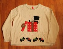 Ugly Christmas Sweater~ Creme Appliqued Scotty Dog in Present, NWOT, 2XL (20) in Naperville, Illinois
