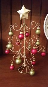 Ornament Tree w/ Ornaments - Cute Gold Metal Tree for Christmas in Orland Park, Illinois