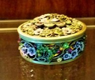 Trinket Box - Metal / Enamel -Round Green, Lavender& Gold w/  Crystals in Westmont, Illinois