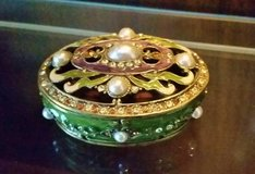 Trinket Box - Metal / Enamel -Oval Green, Lavender, Gold w/  Crystals in Chicago, Illinois