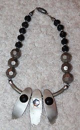 Large Beaded Fashion Jewelry Necklace with 3 Drop Pendants, Silver and Black in Oswego, Illinois