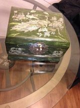 Jewelry Box Lacquered with Mother of Pearl inlay Peacocks Handmade Kor in Travis AFB, California