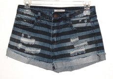 Forever 21 Cuffed Blue Striped Distressed Mini Shorts Womens Tag Size 25 in Plainfield, Illinois