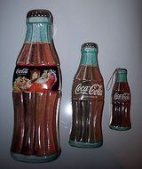 1996 lot of 3 coca-cola collectible pop bottle shaped tin. great graphics in Naperville, Illinois