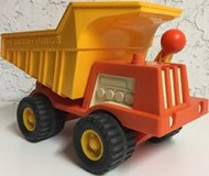 Vintage Fisher Price Orange Yellow Dump Truck With Worker 1970s 302 in Naperville, Illinois