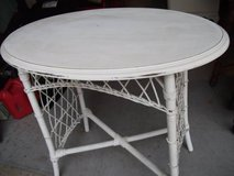 OVAL HARD WOOD TABLE ,WOUND WICKER BINDINGS in Naperville, Illinois