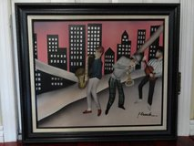 VINTAGE WOOD PAINTED SIGNED FRAMED JAZZ MUSICIAN in Fairfield, California