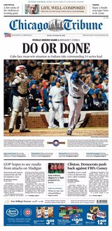 Chicago Tribune newspaper Chicago Cubs World Series October 30, 2016 in Aurora, Illinois
