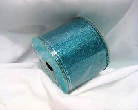 "glitter ribbon blue aqua teal sky holiday collection wired sparkle 2.5"" x 3 yds in Kingwood, Texas"
